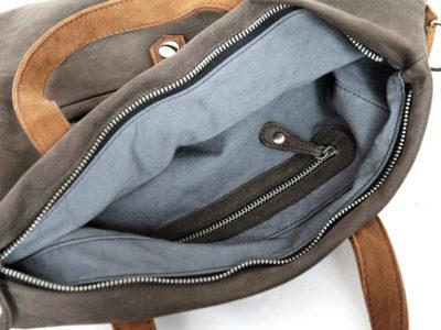 Weiche Tasche mit Henkeln in grau