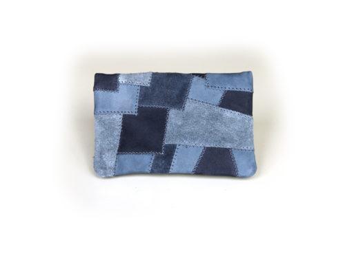Leder Patchwork Velourleder blau